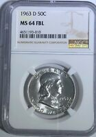 1963 D NGC MS64 FBL BEN FRANKLIN HALF DOLLAR FULL BELL LINES 90% SILVER COIN