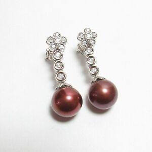Quality Estate 18K White Gold 12.0 mm Chocolate Tahitian Pearl Diamond Earrings