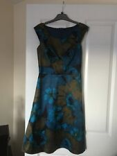 NOUGAT LONDON Blue Silk Floral Sleeveless Dress Size 8