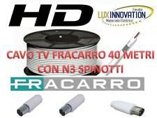 CAVO PROLUNGA 40 METRI TV ANTENNA FRACARRO 5MM  PROLUNGA TV COMPLETA DI SPINOTTI