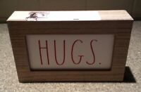 Rae Dunn~HUGS Wooden Sign~NEW Valentines Day Decor~ Red White!