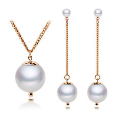 Bridal Weddings White Pearl Gold Chain Jewellery Set Drop Earrings Necklace S840