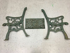 Vintage Heavy Duty Ornate Cast Iron Seat Legs Ends And Back Salvaged