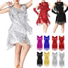 Women Sequin Latin Dance Costume Dresses Ballroom Dance Samba Salsa Tango Dress
