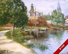 SWEDISH TOWN CHURCH & LIGHTHOUSE SWEDEN LANDSCAPE PAINTING ART REAL CANVAS PRINT