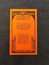 Vtg IRON GATE INN Advertisement Card, Washington D.C