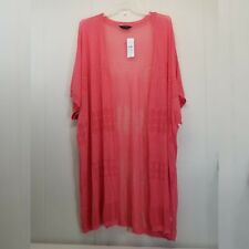 Pink Full Length Sweater Open Cardigan 32 34 Thin Knit Duster