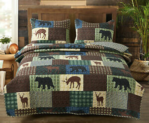 WILDERNESS PATCH 3pc Queen QUILT SET : BLACK BEAR DEER LAKE CABIN WILDLIFE LODGE