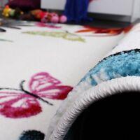Butterfly Rug for Girls Bedroom Multiсoloured Children Carpet Baby Play Room Mat