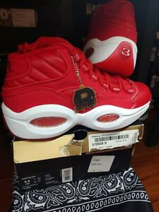 New In Box REEBOK QUESTION MID  v47665 | red,wht, rbk brass | 2013 MEN  Size 9.5