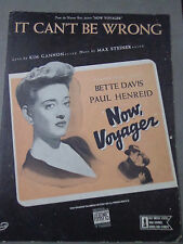 *     NOW,VOYAGER--BETTE DAVIS -PAUL HENREID'-SHEET MUSIC-Original vintage