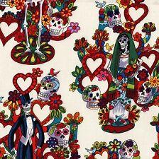 Folklorico LA VIDA Alexander Henry Fabric FQ Wedding CALAVERAS BRIDE GROOM Cream