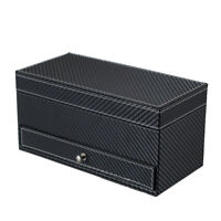 4 Grids PU Leather Jewelry Watch Casket Box Holder with Drawer (Black) *DC