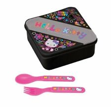 Hello Kitty Neon on Black Lunch Container with Spoon and Fork by Hello Kitty