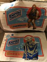 2 Vintage 1980 Star Wars Pillow Case Empire Strikes Back Yoda and Chewbacca