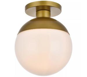 "Elegant Eclipse 12"" Light Brass Flush Mount Frosted White Glass Globe LD6060BR"