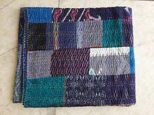 Vintage Indian Silk Sari patchwork Handmade Kantha Quilt Bedspread Bedding Queen