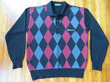 AUTHENTIC PAOLO GUCCI MENS ARGYLE PATTERN LONG SLEEVED SWEATER SHIRT MEDIUM EUC