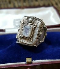 Hermosa vintage plata esterlina Anillo de veneno para hombre, tamaño de piedra lunar, R 1/2, Pesado