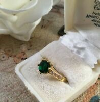Vintage Jewellery Gold Ring with Emerald White Sapphires Antique Deco Jewelry