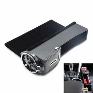 1 Pcs Car Right PU Leather Side Seat Gap Slit Storage Pocket Black Box Organizer