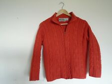 Aran Crafts Merino Wool orange aran cardigan very small, fit ladies size 6-8