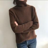 Womens Korea Turtleneck Knitting Pullover Slim Fit Cashmere Casual Chic Sweaters