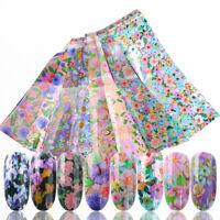 16Pcs Nail Foils Nagel Aufkleber Transfer Decals Mix Flower Design Decorations