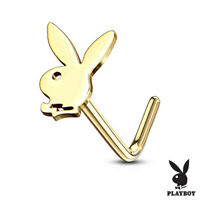 Bendable Hoop 316L Surgical Steel 20g Nose Ring Playboy Bunny Select Color