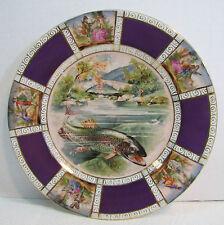 Antique VICTORIA CzechoSlovakia Decorative Art Plate FISH Fisherman Man w Maiden