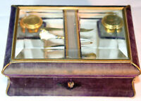 CoMpLeTe ANTIQUE c1900's~8pc BOX w/ 5 SEWING TOOLS & 2 BOTTLES~~