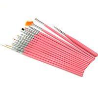15 Pcs Nail Art Pen Brush Drawing Acrylic Sable Painting for Tip Tool Set ~ Pink