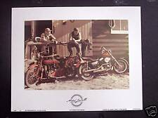 "8x10 ""Old Friends New Friends""  vintage & new Harley Motorcycle art print"