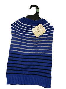 Bond & Co Blue Striped Dog Sweater Large