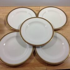 Antique Spode Copeland Majestic 5 Dinner Plates Gold Cobalt Chain Dots 1900s