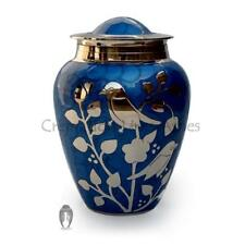 Silver blessing birds large adult ashes urn in blue, Cremation Urns Ashes