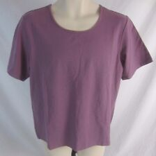 Denim & Co. Womens Large Purple Short Sleeve Stretch Blouse Shirt CB20L