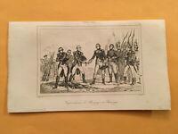 K4) 1837 Etats-Unis D'Amerique British Surrender Saratoga Original Engraving