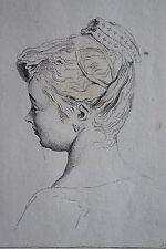 Jean AUDRAN (1667-1756): Tête de femme, Eau forte premier tirage d'après Watteau