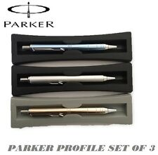 Parker Profile Ball Pen Ballpoint Set of 3 Matte Silver, Copper , Electric blue