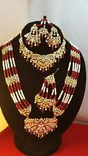 INDIAN Bollywood Rosso mehroon Oro Da Cerimonia Gioielli Set Mala