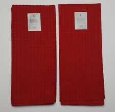 Set of 2 Solid Red Diamond Waffle Weave 100% Cotton Kitchen Dish Towels