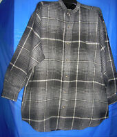 Robert Stock Plaid Flannel Mens Shirt Gray Regular Large Size Long Sleeve Cotton