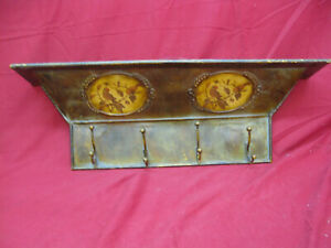 Vintage Painted Tin Wall Coat Rack and Shelf