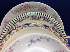 Set of 4 Mismatch China Soup Bowls Pink Floral Scrolls Valmont Debonaire {ES2}