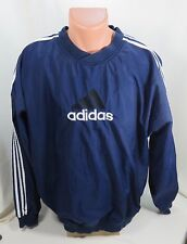 Adidas Pullover  Jacket Lightweight  Blue with White Strips Size L  Large