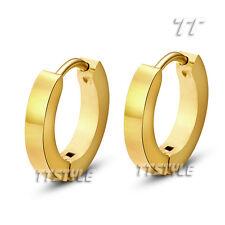 T&T 14K Gold GP 2mm Slim Stainless Steel Hoop Earrings EH01J(2x9)