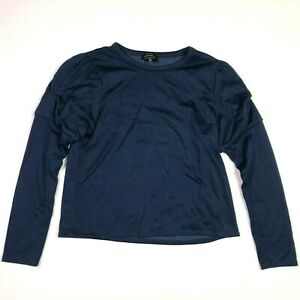 Lucky brand long puff sleeve cropped sweater navy blue womens size medium