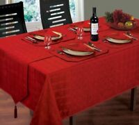"CHRISTMAS WOVEN CHECK JACQUARD RED TABLE CLOTH 52"" X 52"" & 4 NAPKINS 4 PLACEMATS"