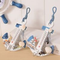 1PC Anchor Shaped Wall Hook Wood Door Hanger Nautical Conch Thermometer Decor